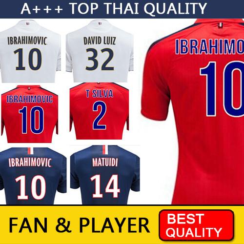 Maillot IBRAHIMOVIC 2015 CAVANI Soccer Jersey 15 DAVID Luiz Camisetas de futbol France Paris jersey Survetement football(China (Mainland))