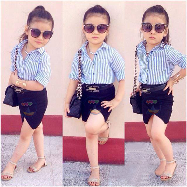 Baby girls clothes set 2015 fashion Striped long sleeve t shirts + skirts + belt girl set children clothing casual kids set 2-7Y<br><br>Aliexpress