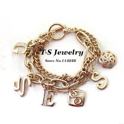 Loom Bands Promotion Bracelets Bangles Jewelry 2014 Brand Charm Bracelet Letters Layer Fashion Women - Thousand Sunshine store