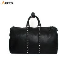 Аарон — корейский тенденция искусственная кожа дорожная сумка, Преобладает черные заклепки спорт вещевой мешок, Многофункциональный большая емкость мужской чемодан