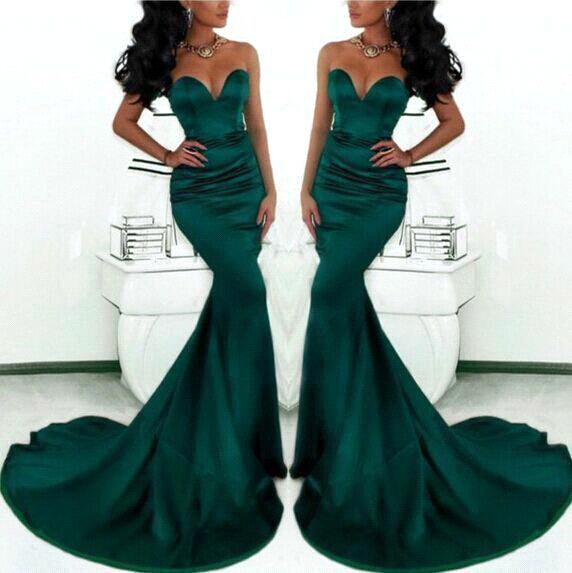 Sexy Mermaid Dark Green Evening Dresses 2016 Simple Style ...