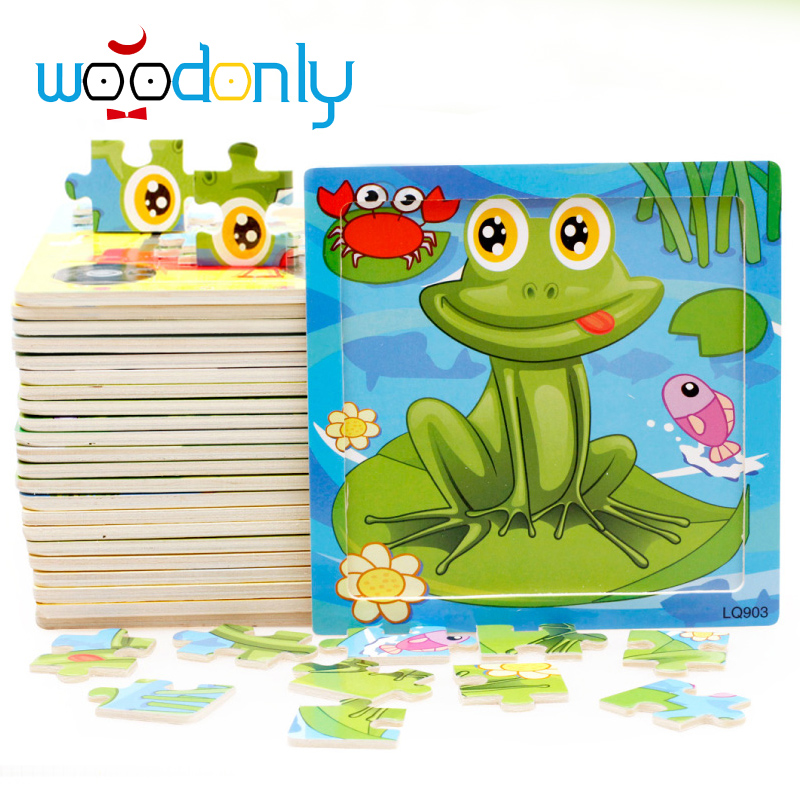 Montessori Wooden animal 16 Pieces Educational Toys Wood Puzzles For Children Kids Toys Intellective Toys age 2,3,4,5 years old(China (Mainland))