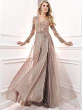 Fashion Chiffon Line dubai arabic muslim Elegant Long Sleeve Evening Dresses Formal Party Gowns - Bridal Dress 2016 store
