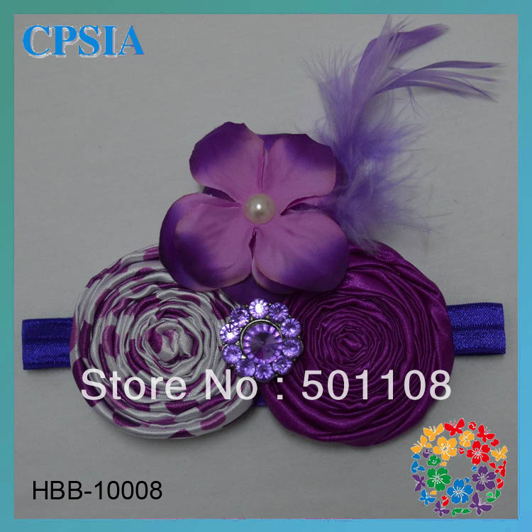 2013 New Style Wholesale Flower Feather Baby Elastic Head Band Assorted Designs 48pcs/lot DHL Free Shipping(China (Mainland))