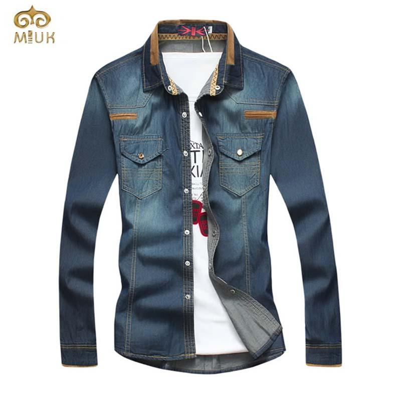 Plus Size Camiseta Masculina 5XL 4XL Slim Fit Brand Denim Shirts 2015 New Arrival Long Sleeve Blue Cotton Pockets Chemise HommeОдежда и ак�е��уары<br><br><br>Aliexpress