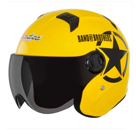 Free Shipping ANDES-B622-M ABS 3/4 Style Ultralight Open Face Motorbike Motorcycle Yellow Black Star Helmet & Lens Adult Summer(China (Mainland))