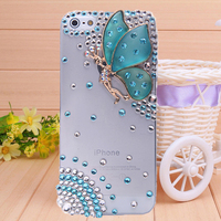 Rhinestone Hot sale beautiful butterfly case for Apple iphone 5 5s iphone 4 4s mobile phone  case diamond shell