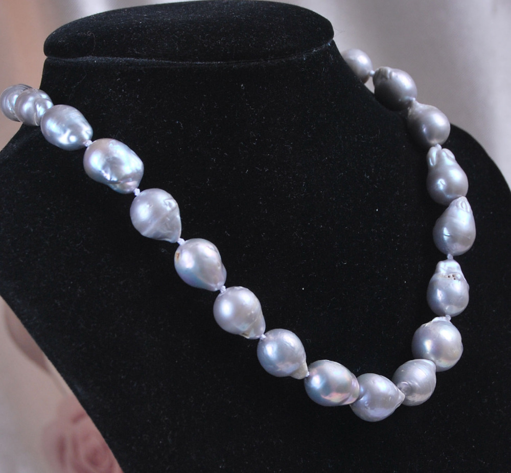 12-16mm Genuine Natural Gray Akoya Baroque Pearl Necklace 17 ^^^@^Noble style Natural Fine jewe FREE SHIPPING<br><br>Aliexpress