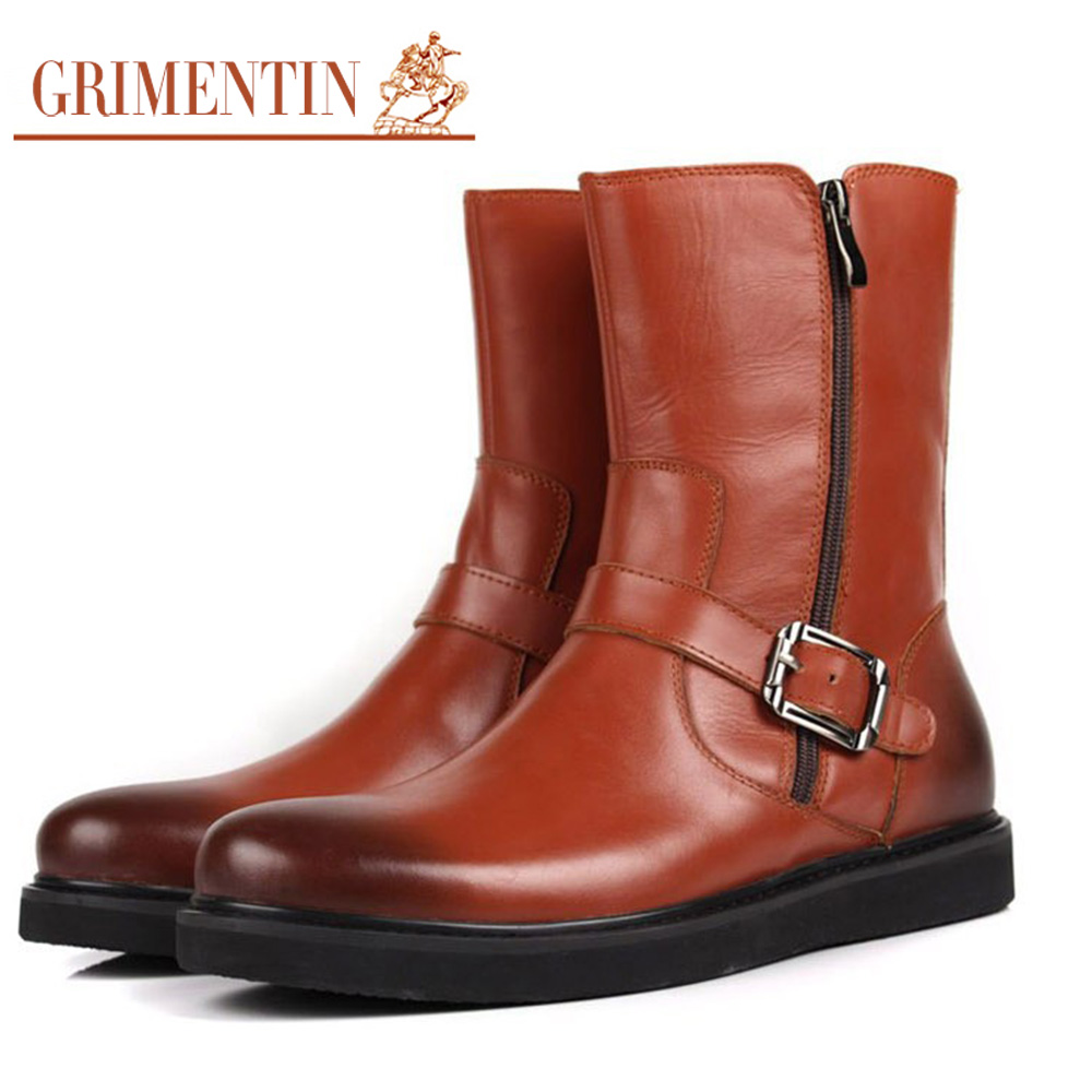 GRIMENTIN fashion casual zip mens motorcycle boots genuine leather with buckle men shoes luxury brand winter mid calf botas b394(China (Mainland))