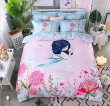 Red White Flower Printed Home Textiles Bedding Sets Cotton 4Pcs Bohemia Duvet Cover Set King Queen Size Flat Sheet Pillowcase(China)
