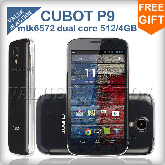 "Cubot P9 MTK6572 Dual Core Mobile Phones Android 4.2 os 5.0""TFT capacitive screen Dual Sim 8MP Camera 512MB RAM 4G ROM GPS/3G"