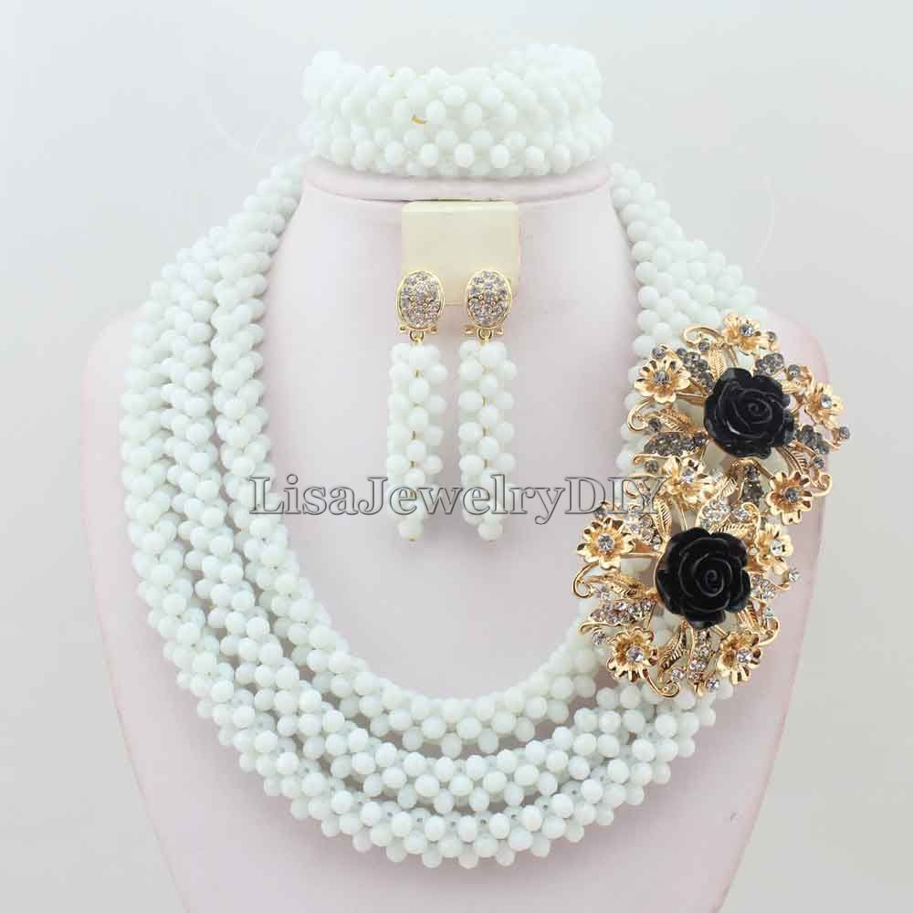 Handmade Chunky African Wedding Jewelry Sets Nigerian Beaded Wedding Bridal Necklace Jewelry Sets Free Shipping HD5319<br><br>Aliexpress