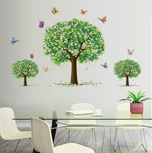 Apple trees vinyl wall sticker decals kids flower plants for Apple tree mural