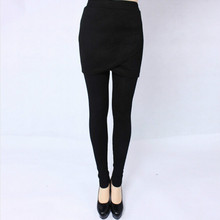 Hot ! XL-5XL 2015 Women's winter warm pants casual thicken velvet pencil pants with mini skirt plus size high elastic legging(China (Mainland))