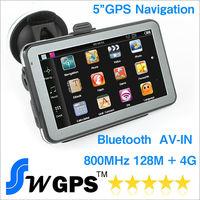 5 inch Car GPS navigator bluetooth AV in MTK wince 6.0 gps navigation 128M,4G , support Hands Free