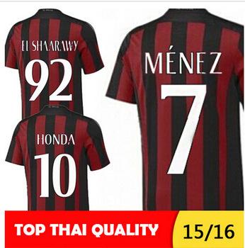 Milan Soccer Jersey Jersey 2016 AC Milan 15/16 Carlos Bacca MONTOLIVO HONDA Shirt 15 16 AC Milan 2016 Home Away Italia Serie A(China (Mainland))