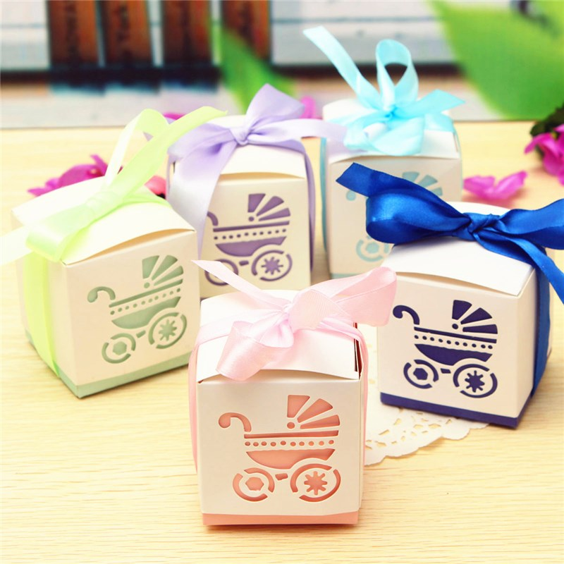 New Arrival 10pcs Purple Blue Pink Green Hard Paper Cut Gift Boxes Wedding Favour Baby Shower(China (Mainland))