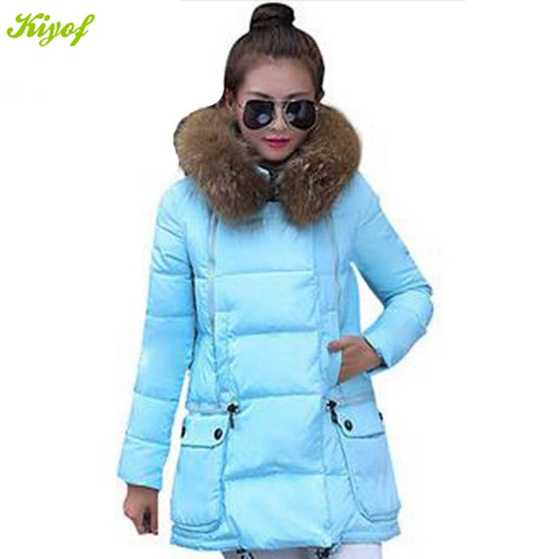 1PC 2015 Womens Winter Jackets Coats Fur Collar Plus Size Jacket Women Thickening Parka BB0010