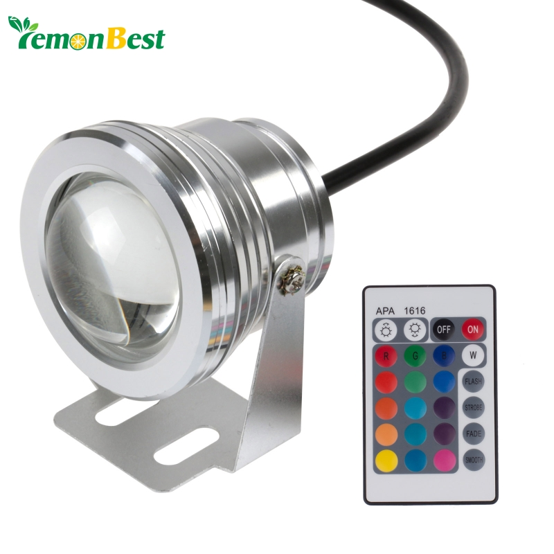 10W 12v underwater RGB Led Light 1000LM Waterproof IP68 fountain pool Lamp Lights16 color change + 24key IR Remote controller(China (Mainland))