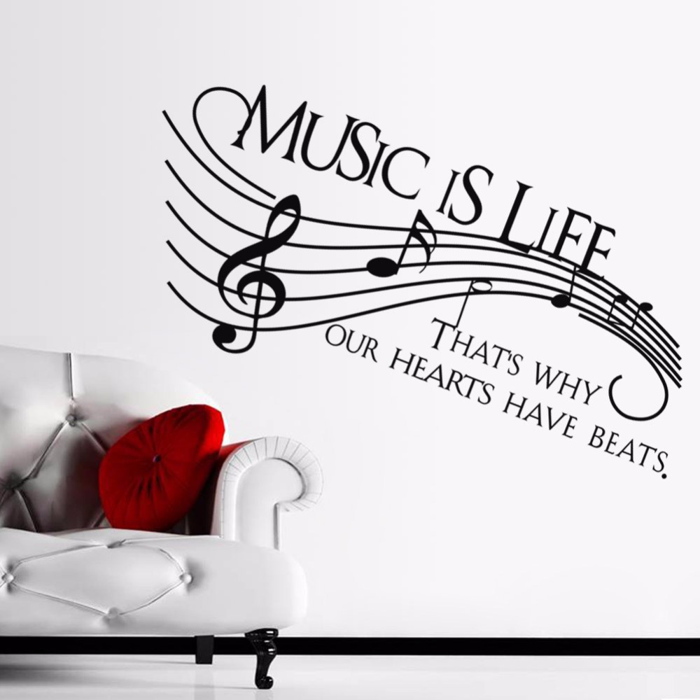 wall decal family art bedroom decor wall   new wall decor music is life family wall decal quotes note decals vinyl stickers living
