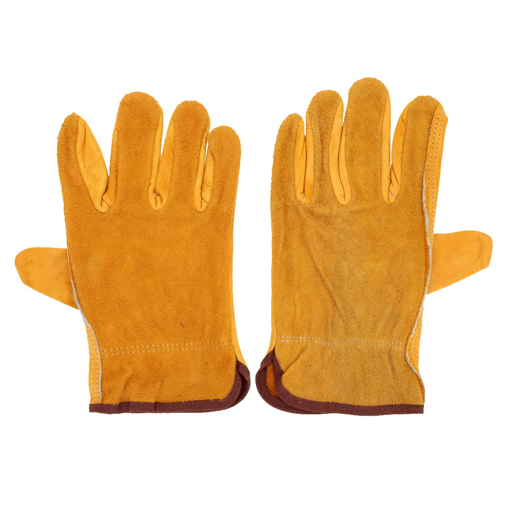 Womens leather gloves reviews - New 2pcs Soft Leather Gloves Men Women Working Protection Driving Household Gardening Cut Resistant Safety Glove