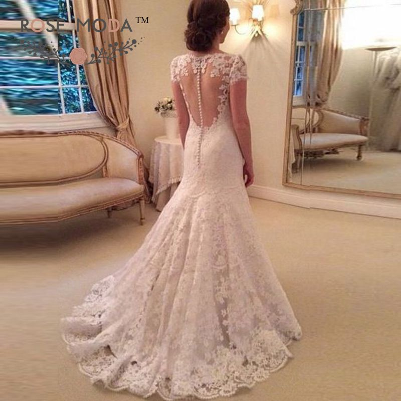 Short sleeves lace trumpet wedding dress illusion back for Queen anne neckline wedding dress