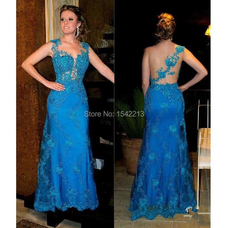 Формальный женщина платье рукава Cap вечернее платье видеть сквозь сексуальных ну вечеринку свадебные платья ренда феста 2016