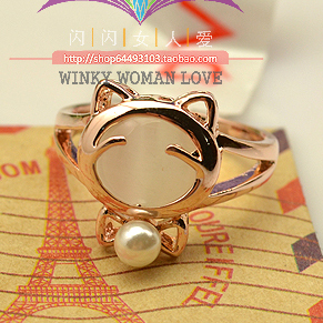 Italina Animal jewelry Hello Kitty Rings for women gift 18K gold plated simulated pearl rings female anel bijoux top quality(China (Mainland))