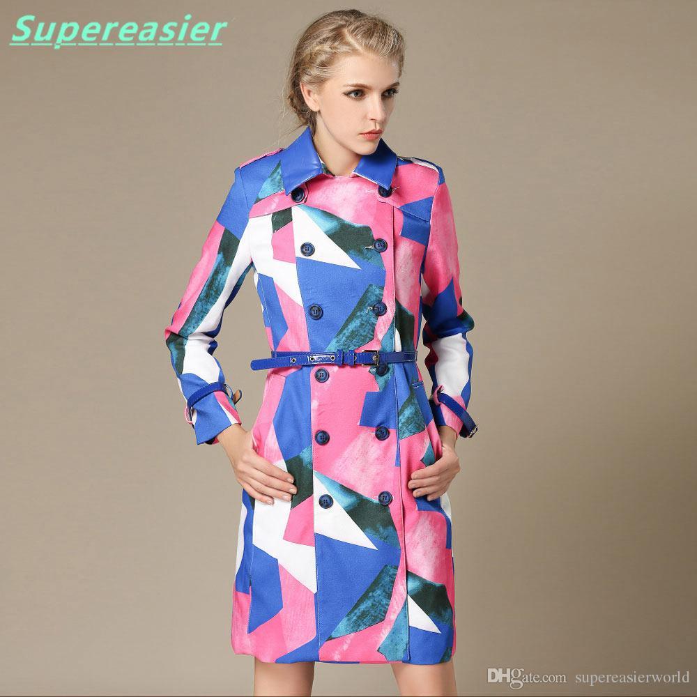 New Fashion Women Double-breasted Trench Coat Long Sleeve Coats Outwear 2016 Women Summer Winter Thin Windbreaker