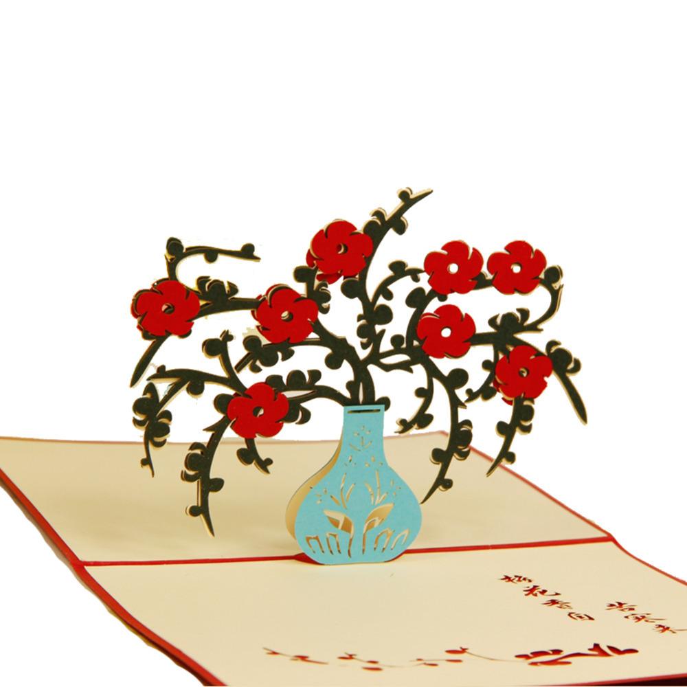 Handmade Birthday Greetings Cards Kirigami 3D Pop up Card Plum Blossom Free Shipping<br><br>Aliexpress