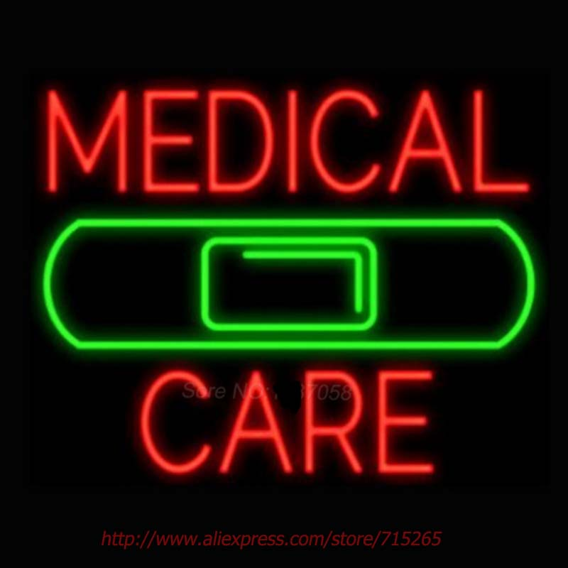 Medical Care Band Neon Signs For Home Neon Bulbs Real Glass Beer Neon Handcrafted Advertise Bulb Neon Light Pub Bar Signs 18x18(China (Mainland))