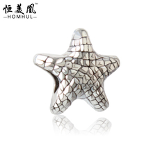 Free Shipping 925 Silver Bead Charm alloy Beads Starfish Bead Charms Fit Pandora Bracelet necklace 976