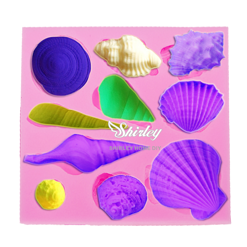 M059 High quality Lovely shell silicone mold,Fondant Cake Decorating Tools,Silicone Soap Mold,Silicone Cake Mold(China (Mainland))