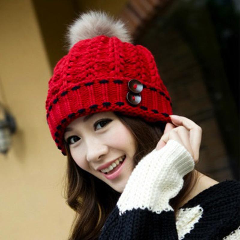 2016 Knit Pom Hat For Women Fashionable Women Winter Hats With Rabbit Fur Ball & Buttons Crochet Fall Winter Hats Women Hat Cap(China (Mainland))
