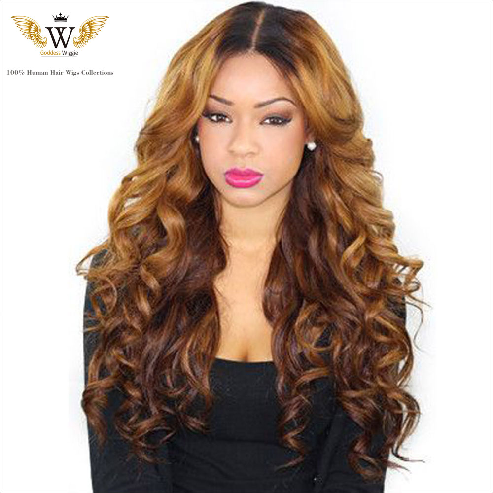 180Density Brazilian Ombre Glueless Full Lace Curly Human Hair Wigs/ Front Lace Wigs Remy Human Hair Lace Wig for white women