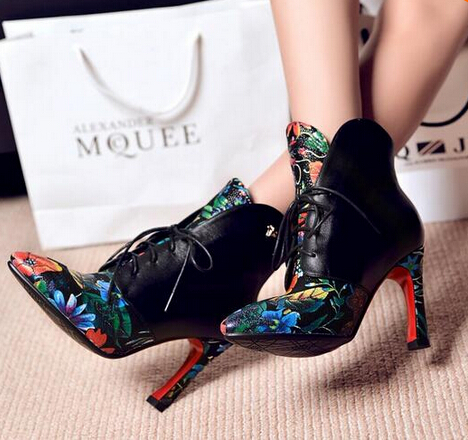 Printing Women Boots Designer Zapatos Mujer Chaussure Femme Sapatos Mixed Color High Heels Shoes Woman Lace Up Ankle Boots <br><br>Aliexpress