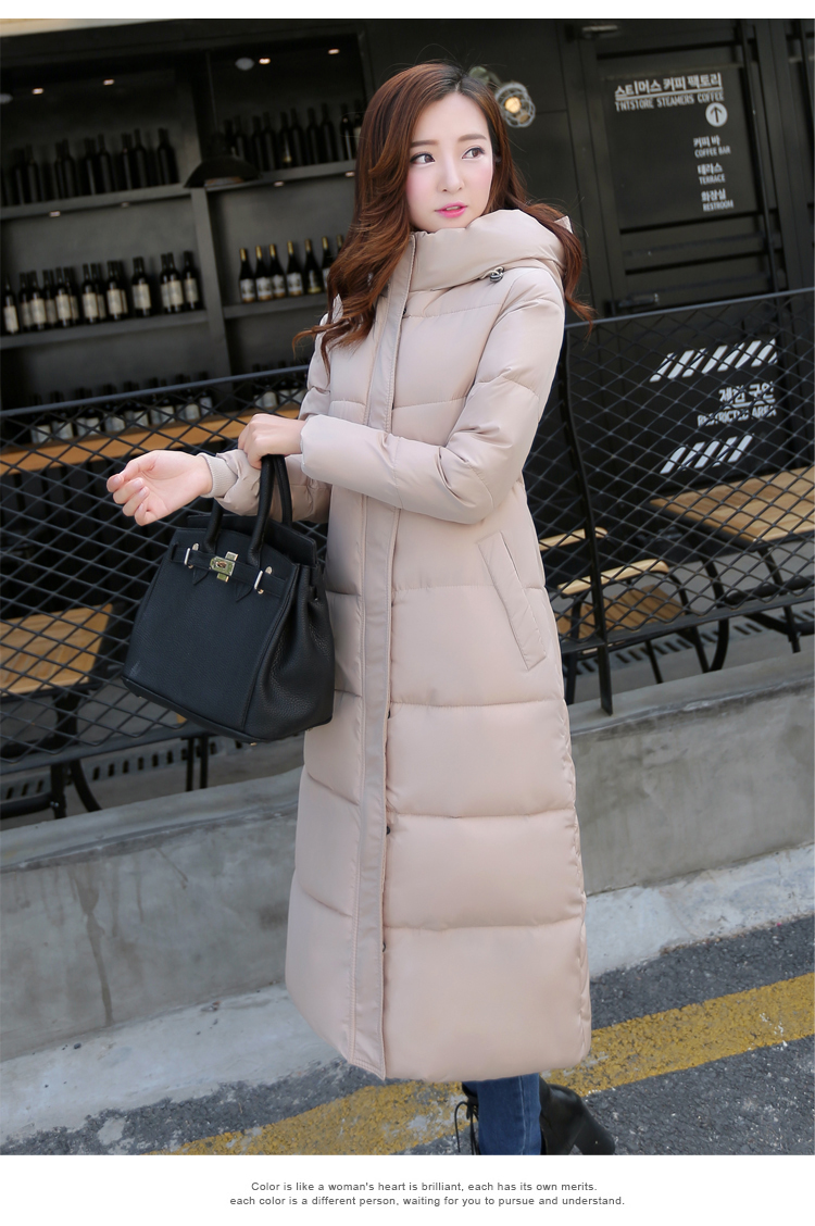 2016 New winter design long overcoat  women's cotton-padded jacket  plus size candy color Jackets & Coats green black red