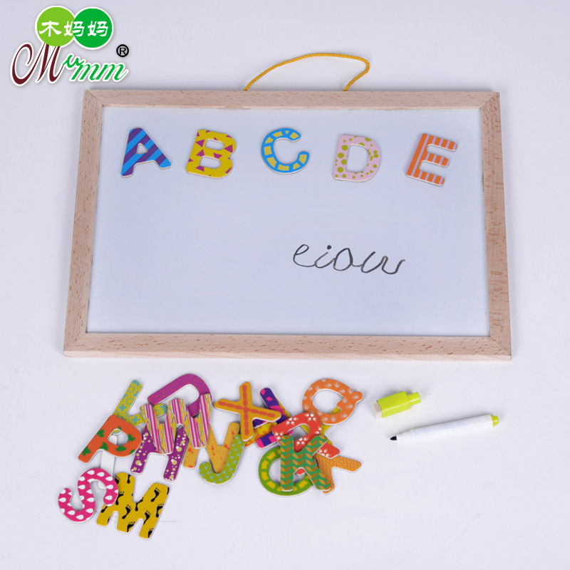 2016 Children's puzzle educational toys multipurpose double-sided Magnetic Wooden letters letters spell Le graphic drawing(China (Mainland))