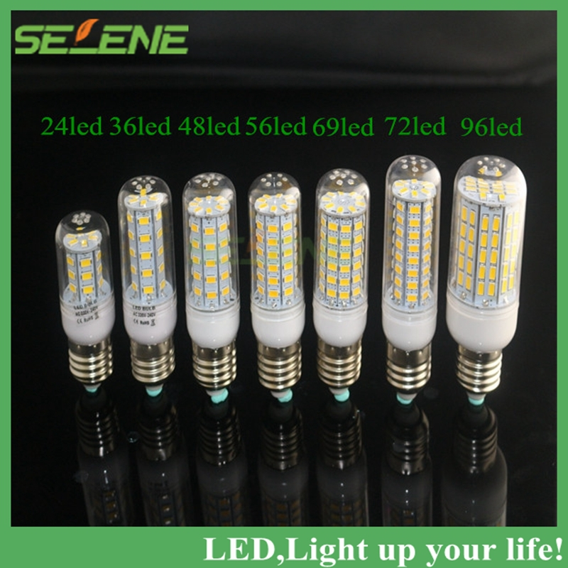 E27 LED lamp 220V 110V 5730SMD LED Corn Bulb Candle Spot light Chandelier 24 36 48 56 69 72 96 White&Warm White Indoor Lighting(China (Mainland))