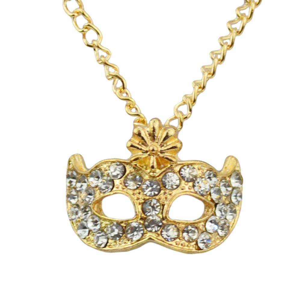 Newest Golden/Silver Chains Pendant Necklaces Mask Shaped Rhinestone Flowers Necklaces Jewelry For Women 2015(China (Mainland))
