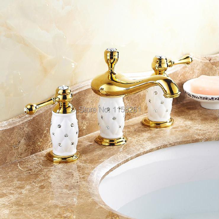 New Perfect Washroom deck mounted Bathtub Basin Sink Brass Mixer Tap 3 PCS Golden Polished Faucet Set ceramic with diamond 5632K(China (Mainland))
