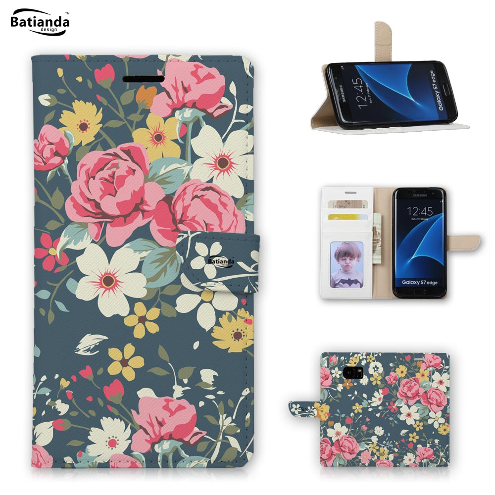 For Samsung S7 Edge Floral Prints Style PU Phone Case For Samsung Galaxy S7 S7 edge Wallet Stand Case Cover With Card Slots(China (Mainland))