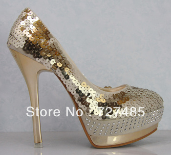 Freeshipping Women's shoes single shoes fashion paillette fashion platform high-heeled platform shoes wedding shoes red gold