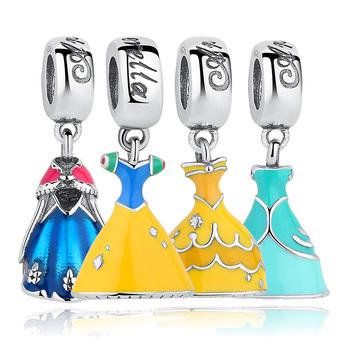 Gift Sterling Silver 925 Elsa's Dress Blue Charms Fit Pandora original Bracelets & Necklace Jewelry Accessories S217