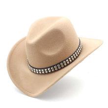 Sombrero de vaquero occidental hueco de lana para hombre y mujer con ala ancha de fieltro Cowgirl Jazz padrino Sombrero tamaño 56-58 CM Punk cinturón A35(China)