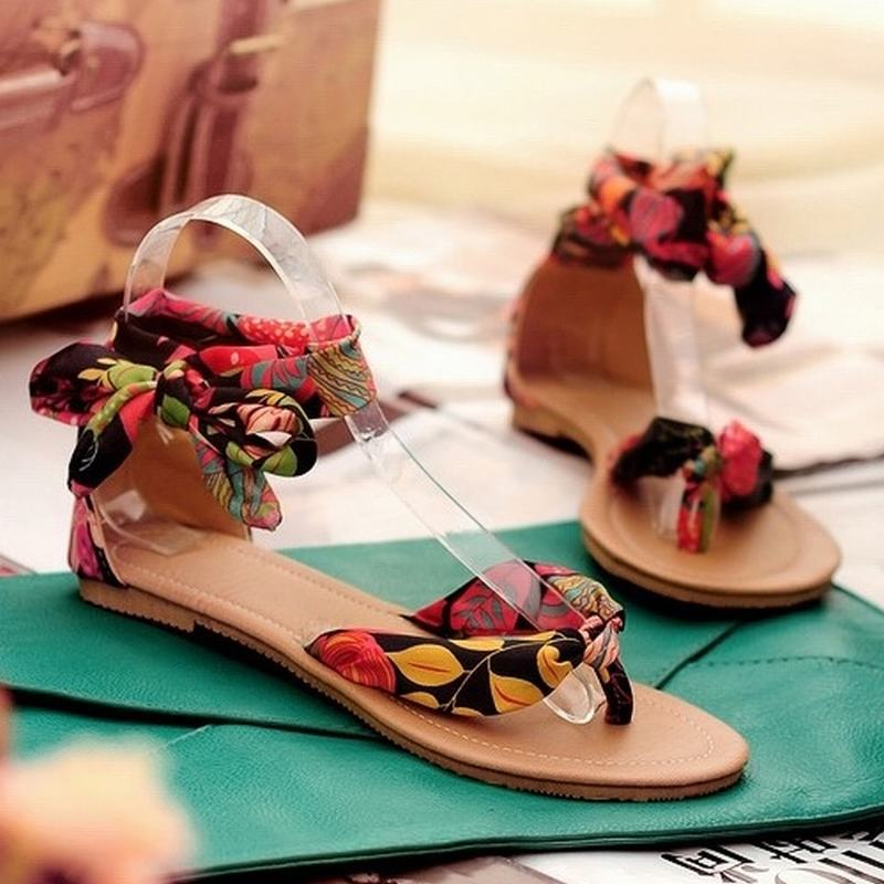 Brand New 2015 Flower Print flats 34-43 for women Summer Sandals Air Mesh Ribbon Sweet Ladies fashion Leisure shoes Flat Sandals(China (Mainland))