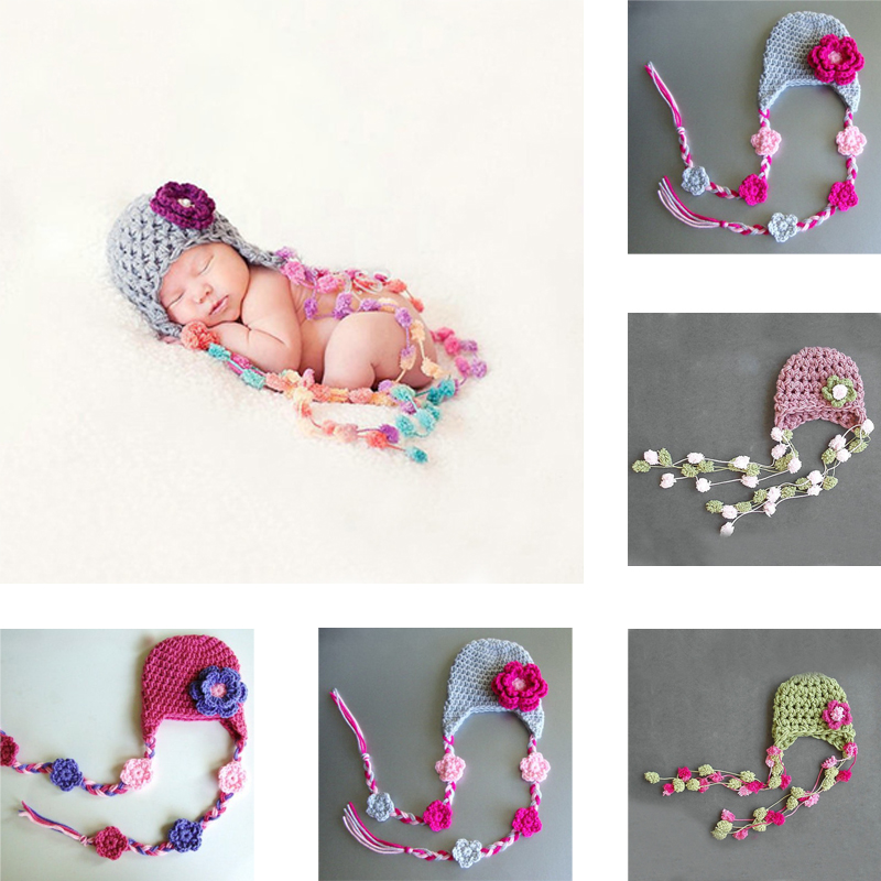 Cute Children Handmade Manual Crochet Hats Kids Flower Knitted Beanies Caps Infant Baby Photograph Props Random Color(China (Mainland))