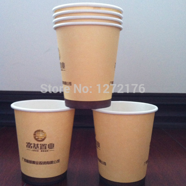 Customized tableware water proof paper cups 1000pcs a lot customized with your own brand name and logo text free shipping(China (Mainland))