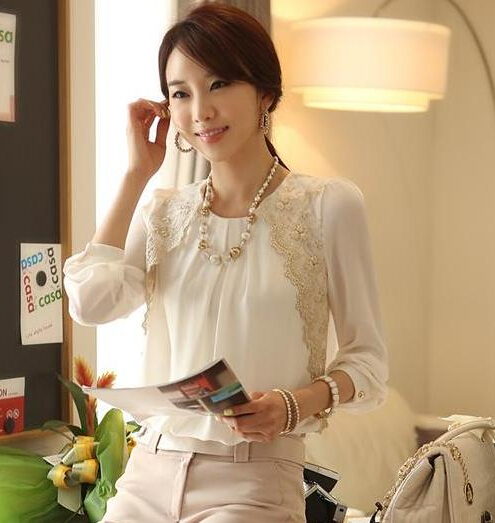 2014 brand autumn spring new women's casual shirt lace tops cute elegant three quarter sleeves blouses - iGem store