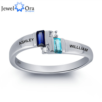 Personalized Couple Name Ring 925 Sterling Silver Love Promise Ring Best Valentine's Day Gift (JewelOra RI101805)